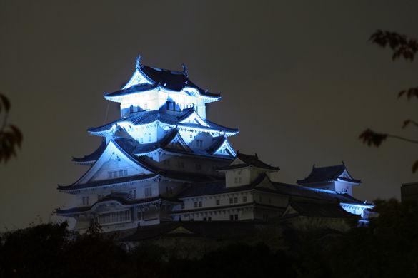 Фото Замок Химедзи ночью