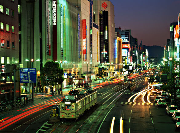 Город Хиросима ночью