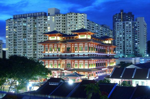 Сингапур ночью фото
